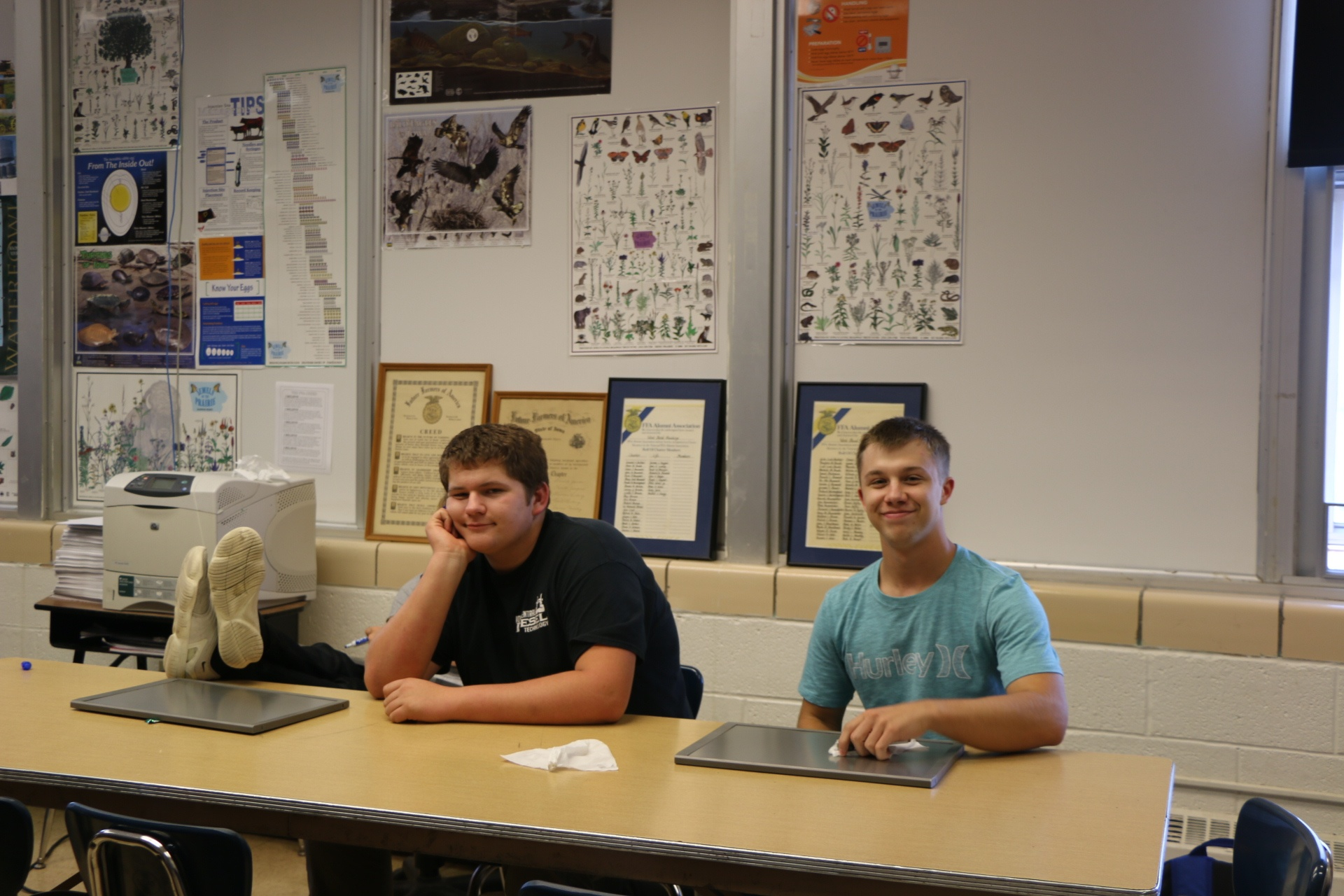 Logan Studer and Brandon Yoch in Ag class